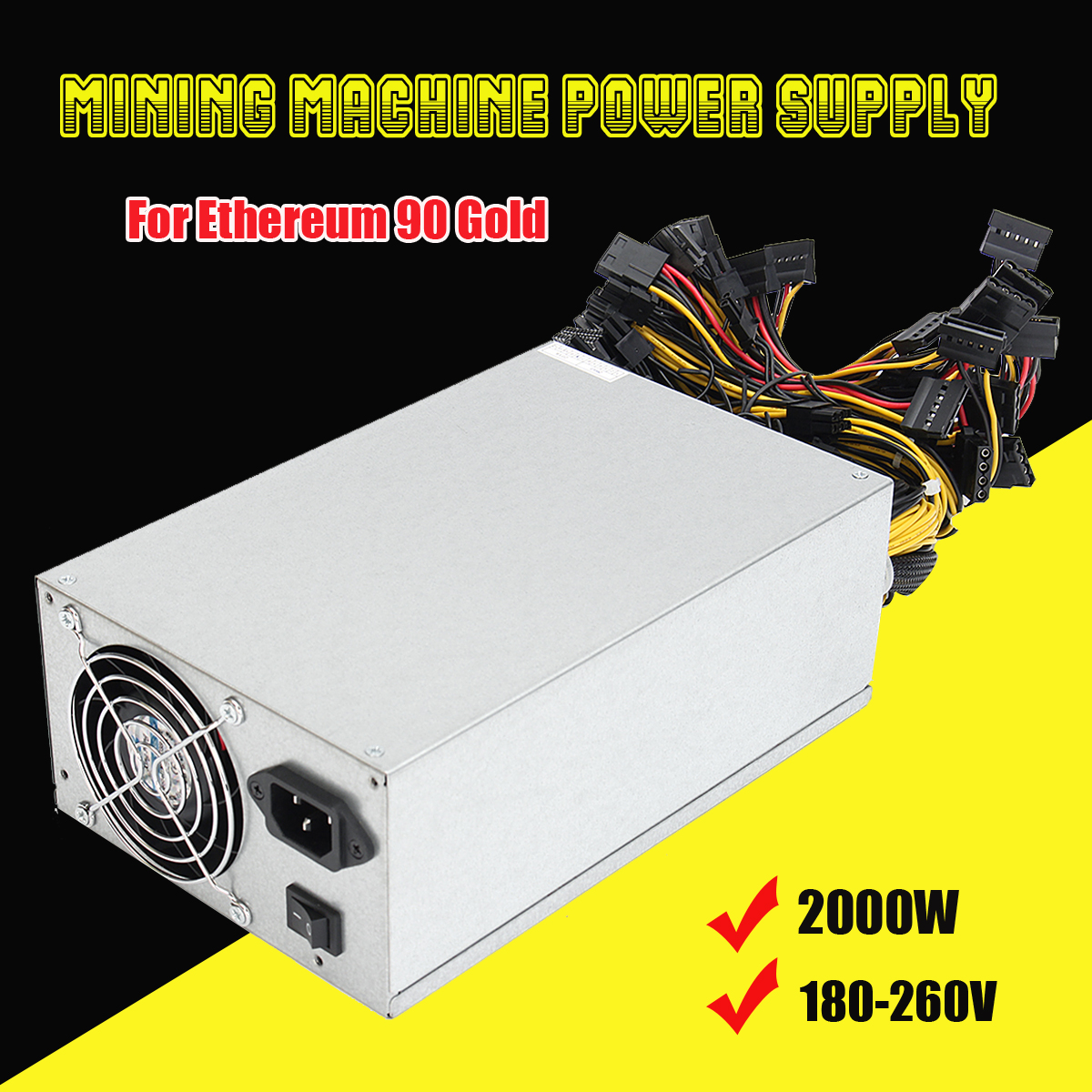 2000W Miner Mining Machine Power Supply For Ethereum For BTC 90% High Efficiency Gold 180-260V 8GPU Graphics Card Power Supplies2000W Miner Mining Machine Power Supply For Ethereum For BTC 90% High Efficiency Gold 180-260V 8GPU Graphics Card Power Supplies