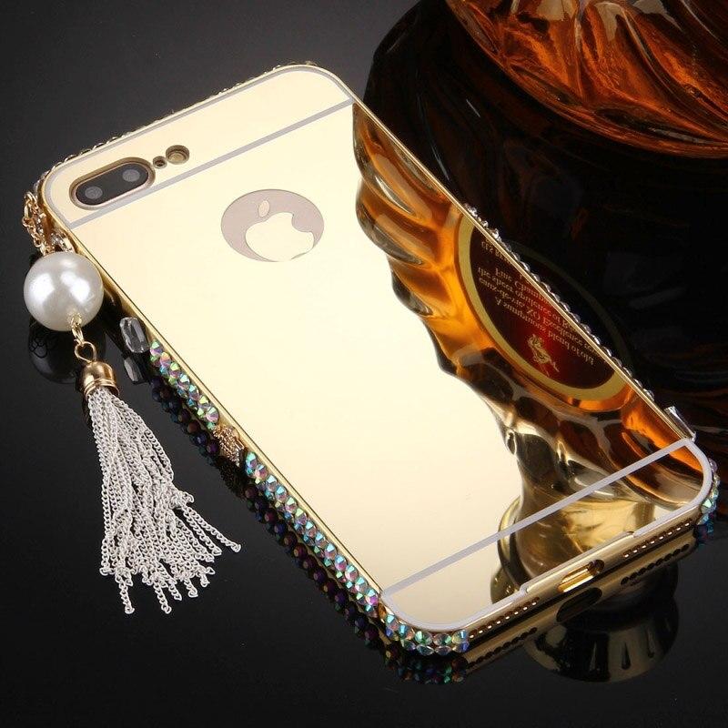 Or de luxe Miroir Cas Pour Apple iPhone 7 Glitter Perle Pendentif diamant Acrylique Cadre Cas Mince Couverture de Téléphone Pour iPhone 7 Plus