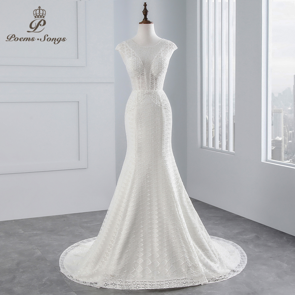 PoemsSongs real photo 2018 Cap Sleeves Mermaid wedding dress beading beading sexy lace Wedding Gown Vestido