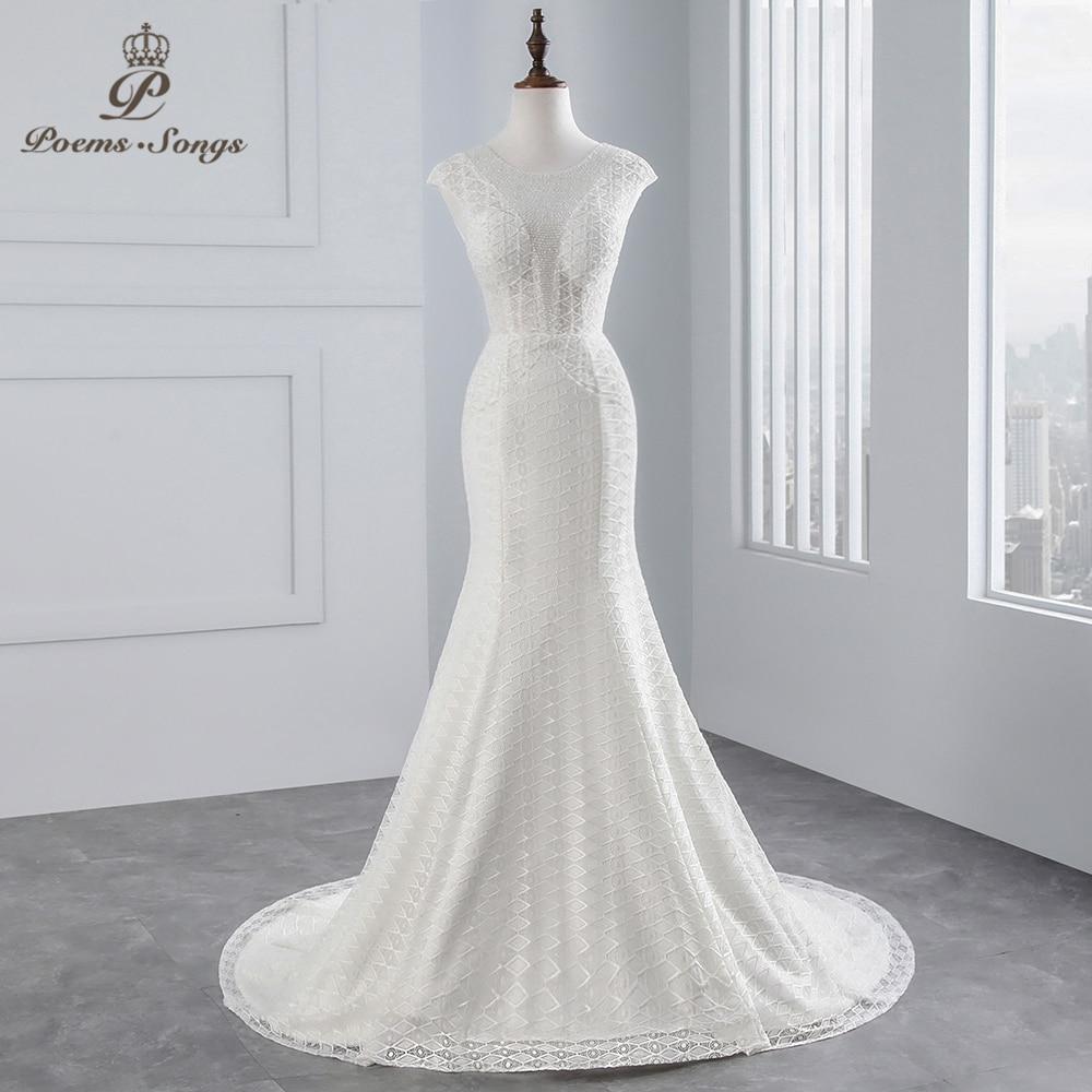 PoemsSongs Real Photo 2018 Cap Sleeves Mermaid  Wedding Dress Beading Beading Sexy Lace Wedding Gown Vestido De Noiva