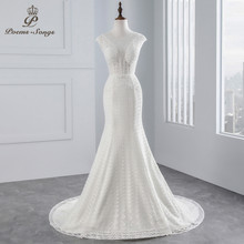 PoemsSongs real photo 2018 Cap Sleeves Mermaid wedding dress beading beading sexy lace Wedding Gown Vestido de noiva(China)