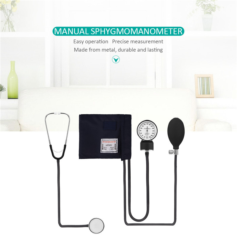 Aneroid Sphygmomanometer Manual Blood Pressure Monitor Cuff Stethoscope Blood Pressure Meter Upper Arm Blood Pressure Device 31 2018 manual blood pressure cardiology stethoscope medical sphygmomanometer arm double head stethoscope health care