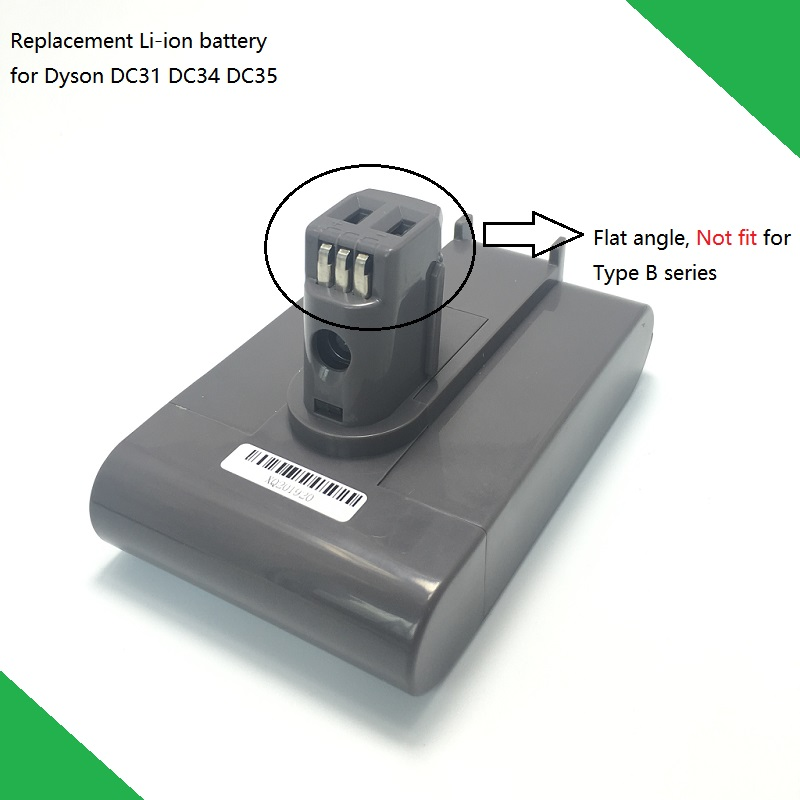 22 2V 3000mAh Replacement Li ion Battery For Dyson DC31 DC34 DC35 Vacuum Cleaner with Flat