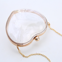 820e24cb5 Feminina Fashion Cute Heart Shaped Acrylic Clutch Box Hard Wallet  Transparent Mini Handbag Vintage Evening Bags