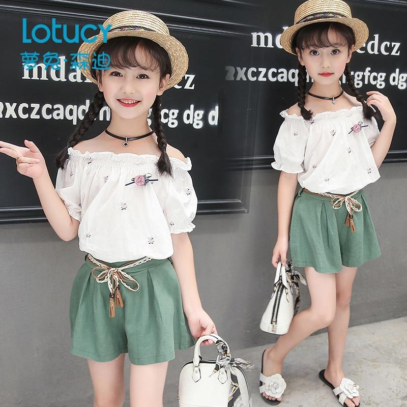 vetement fille teenage girls clothing set white summer top shorts 2pcs boutique kids clothing