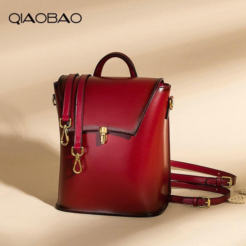 QIAOBAO 2018 nouveau sac à dos en cuir de vachette rétro sac à bandoulière mode sac à dos en cuir sacs