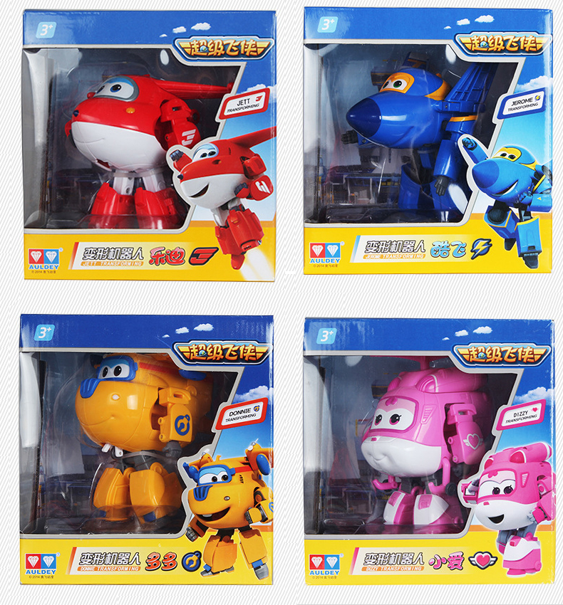 Big 4 pcs set Super Wings Transformation Deformation Airplane Robot Action Figures child Toys Gift superwings