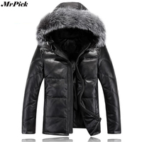 2017 Новый меховой капюшон мужские кожаные пальто Зимние теплые 20 градусов черные цветные куртки E0708 003