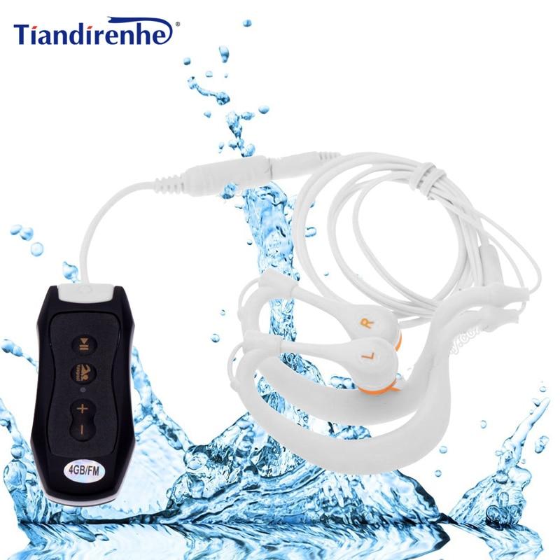 цена на Newest FM Radio 4GB 8G IPX8 Waterproof MP3 Music Player Swimming Diving Earphone Headset Sport Stereo Bass Swim MP3 with Clip