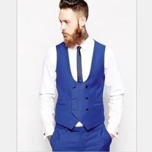 Королевский синий мужской жилет свадебные костюмы приталенный