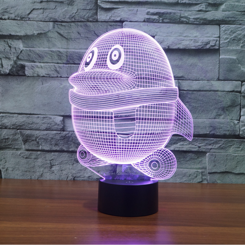 3309 3D Penguin  LED Lamp Atmosphere lamp 7 Color Changing Visual illusion LED Decor Lamp