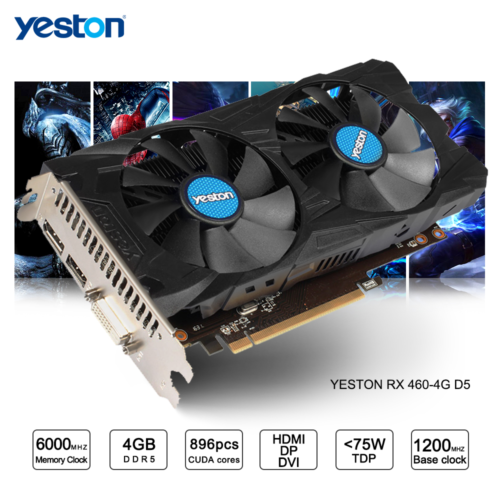 Yeston Radeon RX 460 GPU 4GB GDDR5 128 bit Gaming Desktop computer PC Video Graphics Cards