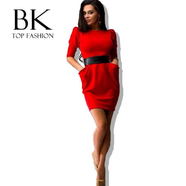 4256330c75f 2017 зимнее женское платье с поясом тонкие пакеты красное платье с длинным  рукавом синее облегающее Бандажное