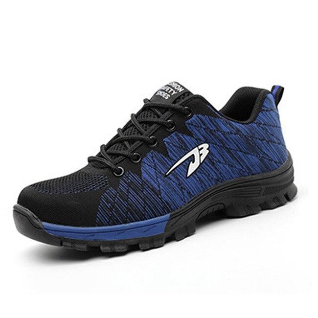 Большие размеры#39 s, Рабочая обувь с дышащей сеткой и стальным носком Мужская Уличная противоскользящая стальная защитная обувь с защитой от проколов - Цвет: blue
