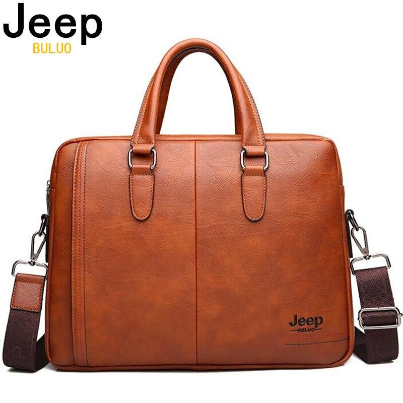 JEEP BULUO Men s Business Split Leather Briefcase Bags Male Messenger Shoulder Portfolio 13 inch Laptop