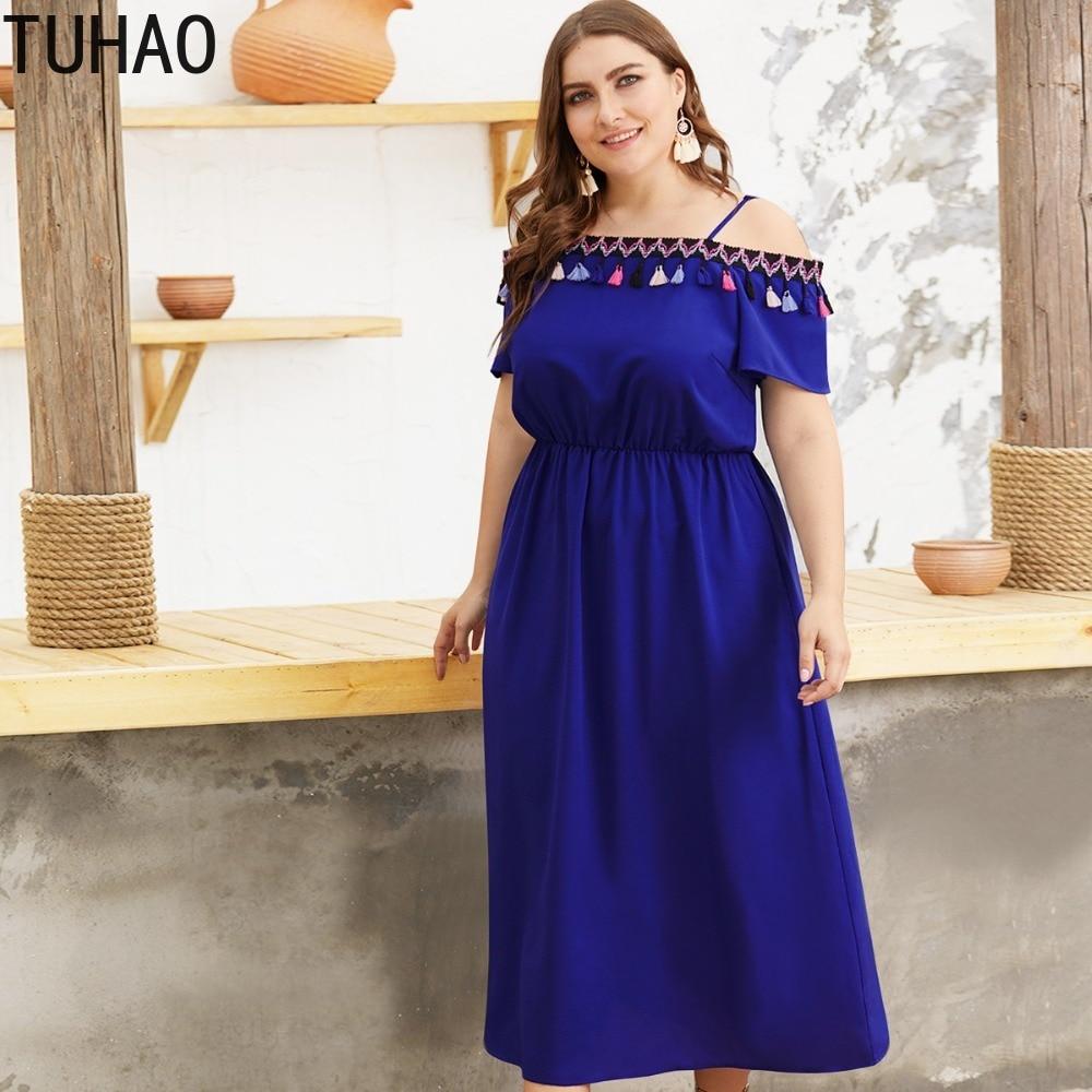 TUHAO Casual Tassel Blue Bohemian Style Dress Plus Size 3XL 4XL Beach Dresses 2019 Summer Long Women Vestido Party Femme Dress