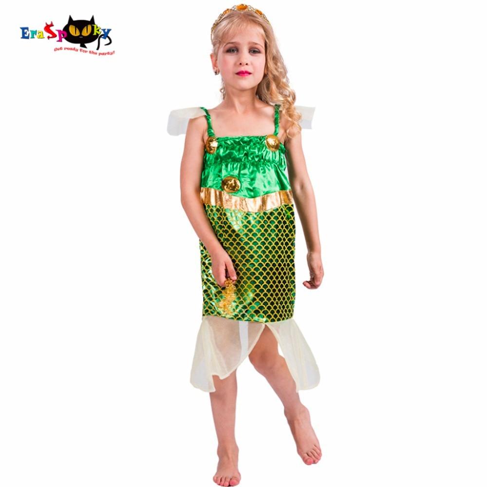 Eraspooky Cute Shiny Sequins Mermaid Costume Kids Party