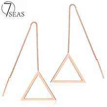 7SEAS Jewelry Women's Geometric Fashion Earrings Rose Gold Plated Steel Triangle Drop & Dangle Long Earrings Latest Chic, 7S335