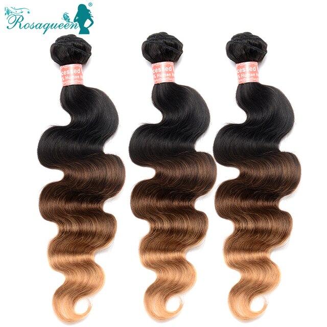 Ombre Hair Extensions Peruvian Virgin Hair Body Wave  6A 1B/4/27 Peruvian Body Wave Human Hair Weave Bundles Free Shipping