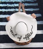 2017 yeni kadın straw yaz büyük ağız fötr özelleştirilmiş mektup güneş şapka disket şerit moda plaj şapka