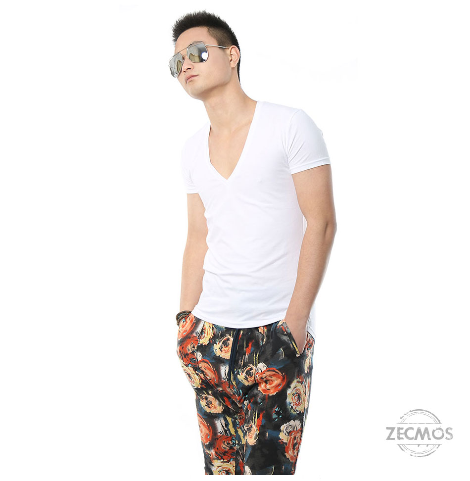 Zecmos Deep V Neck Sexy Men T-Shirt Vintage Short Sleeve Solid Color Muscle Fit T Shirt Men Top Tees Fashion 18