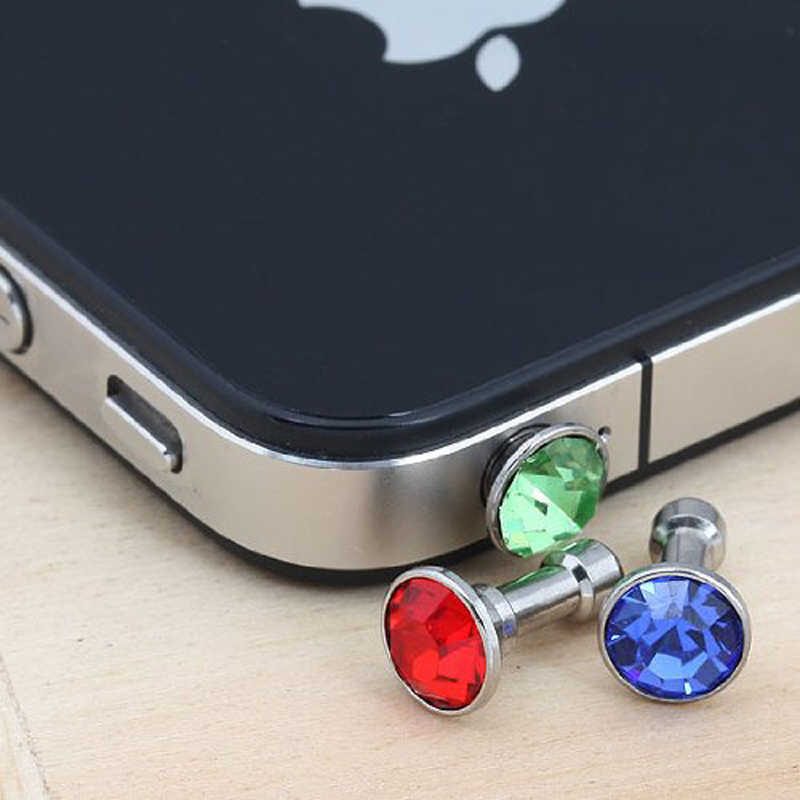 クリスタルアンチダストプラグ 3.5 ミリメートルジャック iphone 6 s 5 s 7 プラスサムスンラインストーンケース電話ガジェット携帯電話アクセサリー