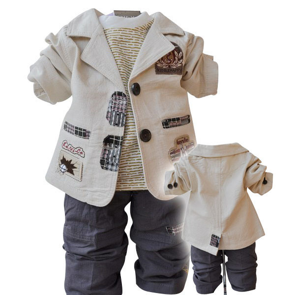 2017 boys blazer kids baby boy suit casual blazer sets children's cotton coat+T-shirt+pants set bebe boy kids clothing 12M-5Y