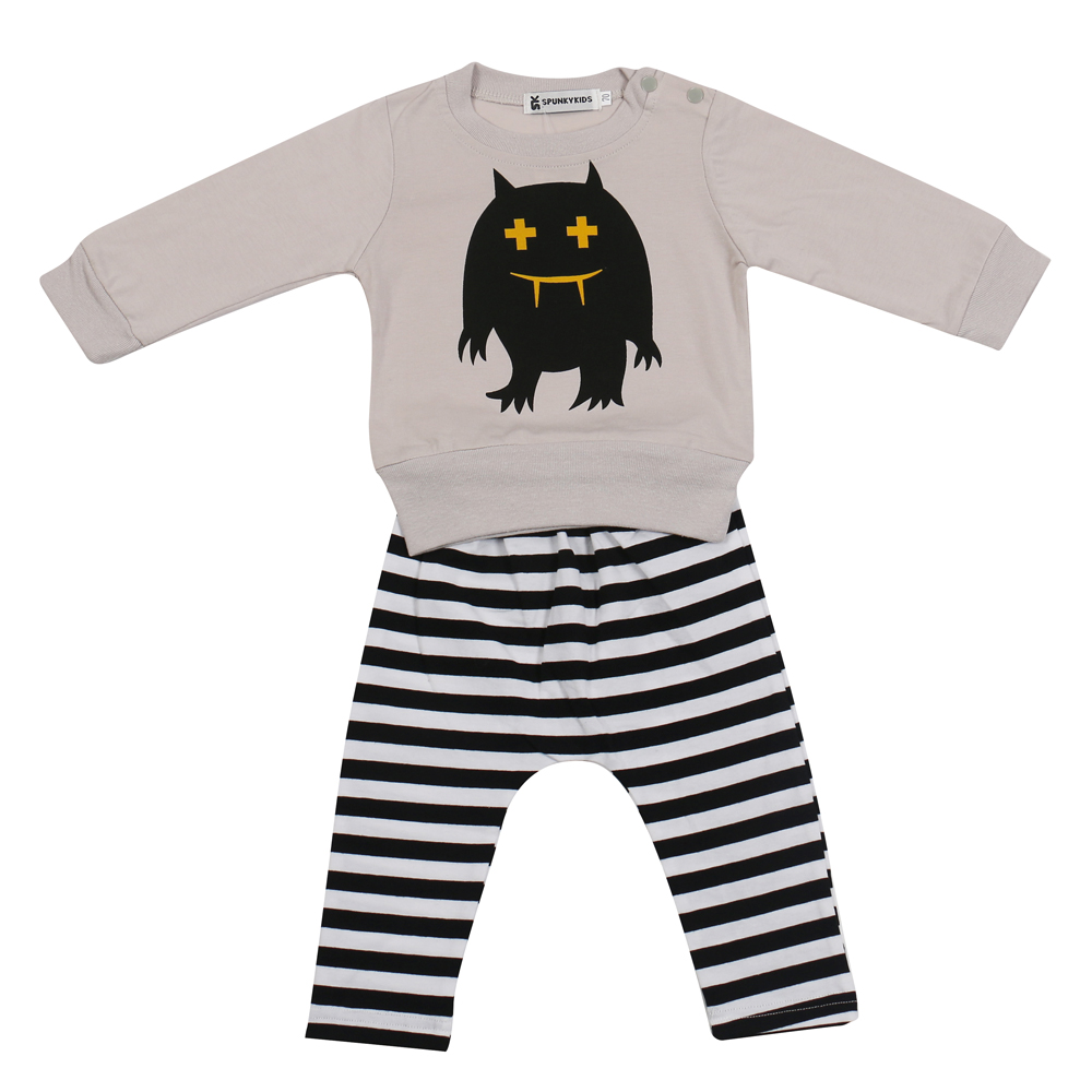 a6c3aceb66cb 2019 new autumn Baby Girls Boys Monster clothes 2pcs top + pants ...
