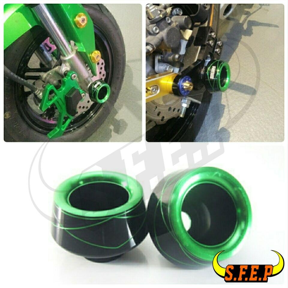 Universal Motorcycle CNC Front Rear Fork Wheel Fall Protection Frame Slider Anti Crash Protector For Kawasaki Z125 Ninja250/300