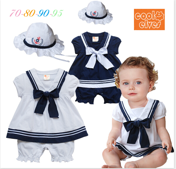 Summer baby girl romper short sleeves navy sailor style romper hat newborn cute bowknot jumpsuit infantil