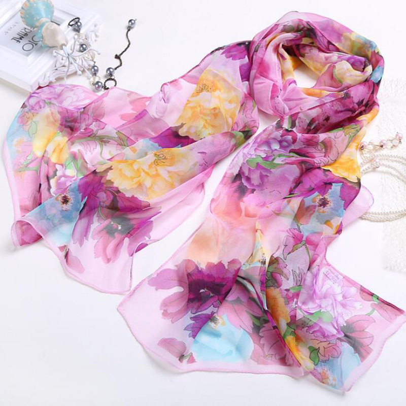 New Design Chiffon Silk Beach Scarf For Women Muslim Hijab Flower Floral Print Bandana Georgette Long Shawl High Quality