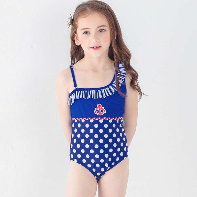 71cfe50f0f New 2018 Children One-piece Swimwear Bodysuit Girls Cute Swimsuit Dots Swim  Bathing Suit Bather Pool Teens Kids Beach Wear Blue