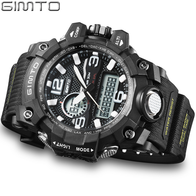 GIMTO Brand Cool Men Sports Watches Waterproof Silicone LED Digital Diving Shock Watch Boy Male Military Clock Relogios Montre