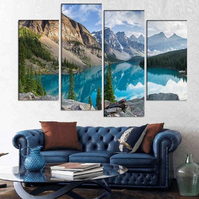 4 pcs set large landscape rocky mountains with lake canvas print