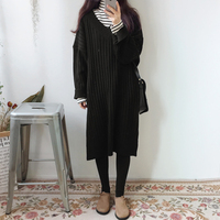 South Korea Chic Loose Leisure Wind V Neck Long Sleeved Wool Dress