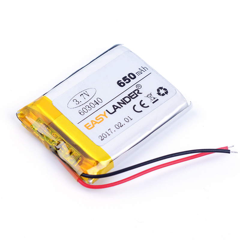 603040 3.7V 650mAh Rechargeable li Polymer Li-ion Battery For MP3 MP4 gaming Mouse GPS PSP DVR PDA Lampe speaker Toys 063040