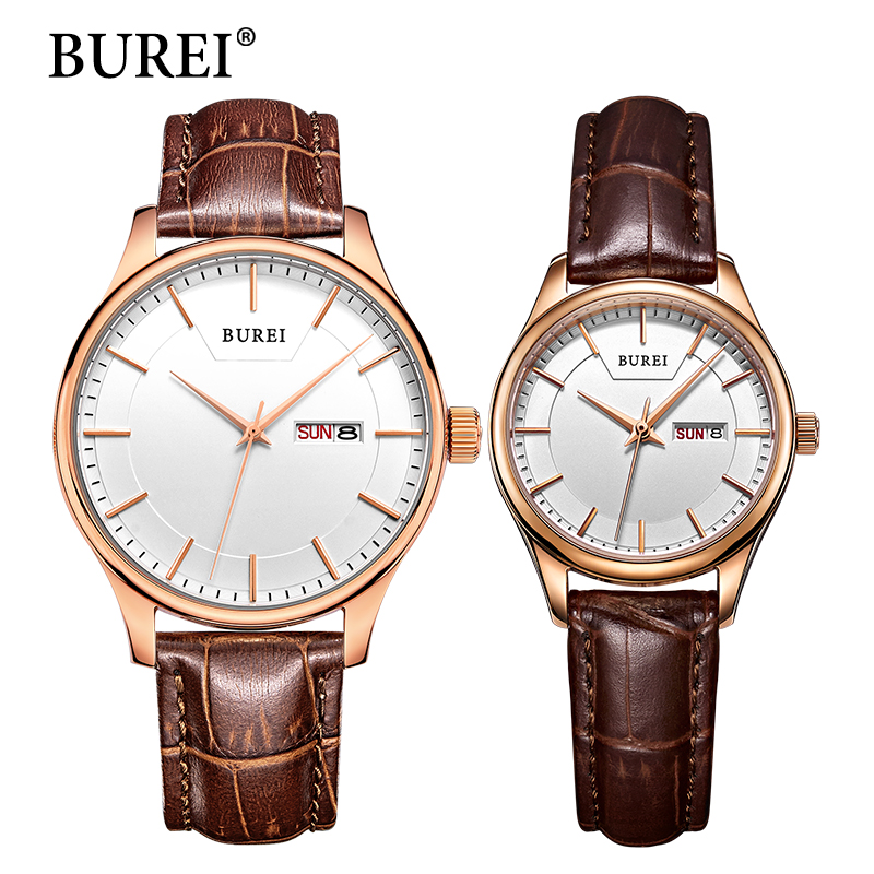 BUREI Brand Men Women Dress Quartz Watch New Hand Couples Table Clock Real Leather Fashion Casual