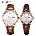 Marca homens mulheres vestido relógio de quartzo burei nova mão casais presente de relógio de mesa moda casual relógios de pulso de couro real venda quente