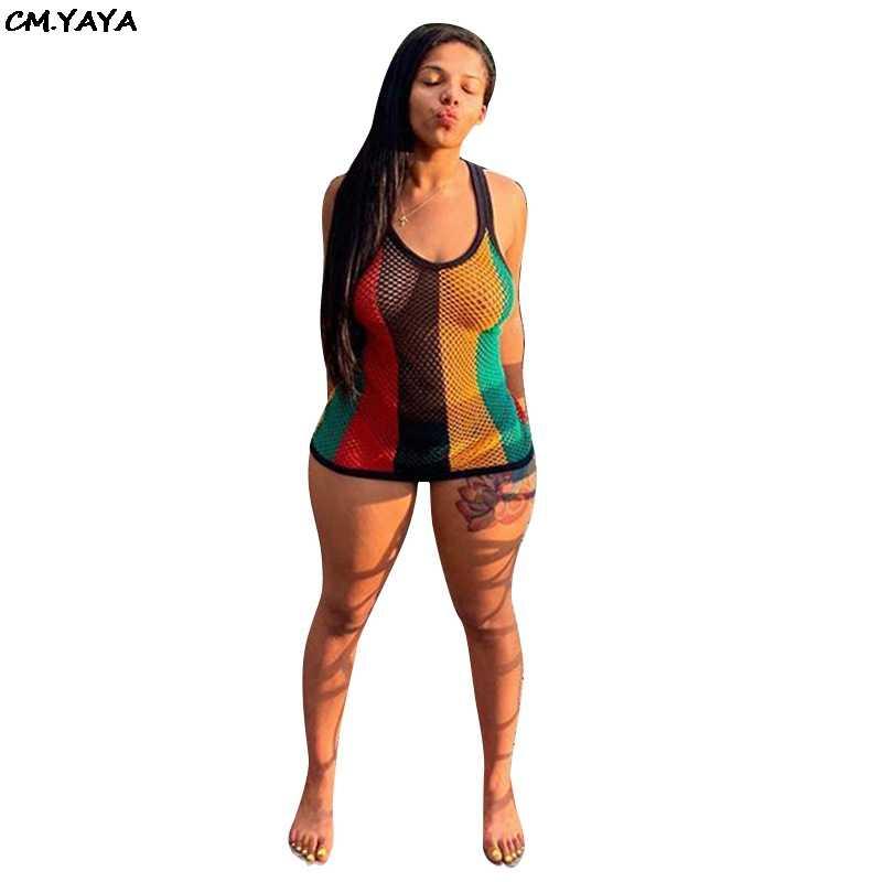 2019 חדש נשים קיץ קשת פסים הדפסת גזה רשת לראות אם כי סקסי bodycon מיני midi שמלת מועדון לילה מסיבת שמלות GLF8220