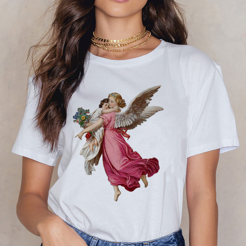 Angel 90s Fashion T Shirt Women Kawaii Print Short Sleeved O-neck T-shirt Vintage Vogue Ullzang Tshirt Harajuku Top Tees Female 2