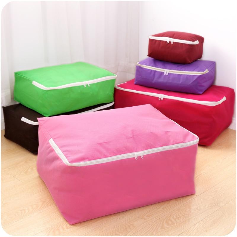 6 Size Home Storage Bag Clothes Quilt Bedding Duvet Storage Pouch Zipped Handle Portable Travel Pillow Blanket Laundry Organizer