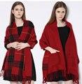 Горячие 2015 Женщин Зимы теплый плед карман шарф длинный шарф шаль двойной кондиционер шарф