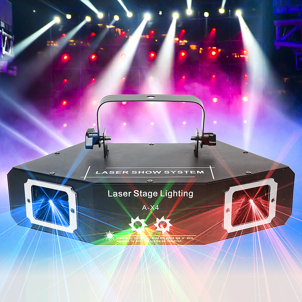 Mising DMX 512 Acoustic Control 4 Lens RGB Stage Light Laser Lighting Lamp Pattern Beam Network Laser Light For Party DJ KTV