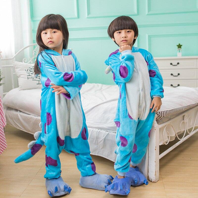 2017 детские пижамы Новые Детские Kigurumi модные милые фланель теплые для маленьких мальчиков и девочек животных Домашняя ночная рубашка 2-10 т