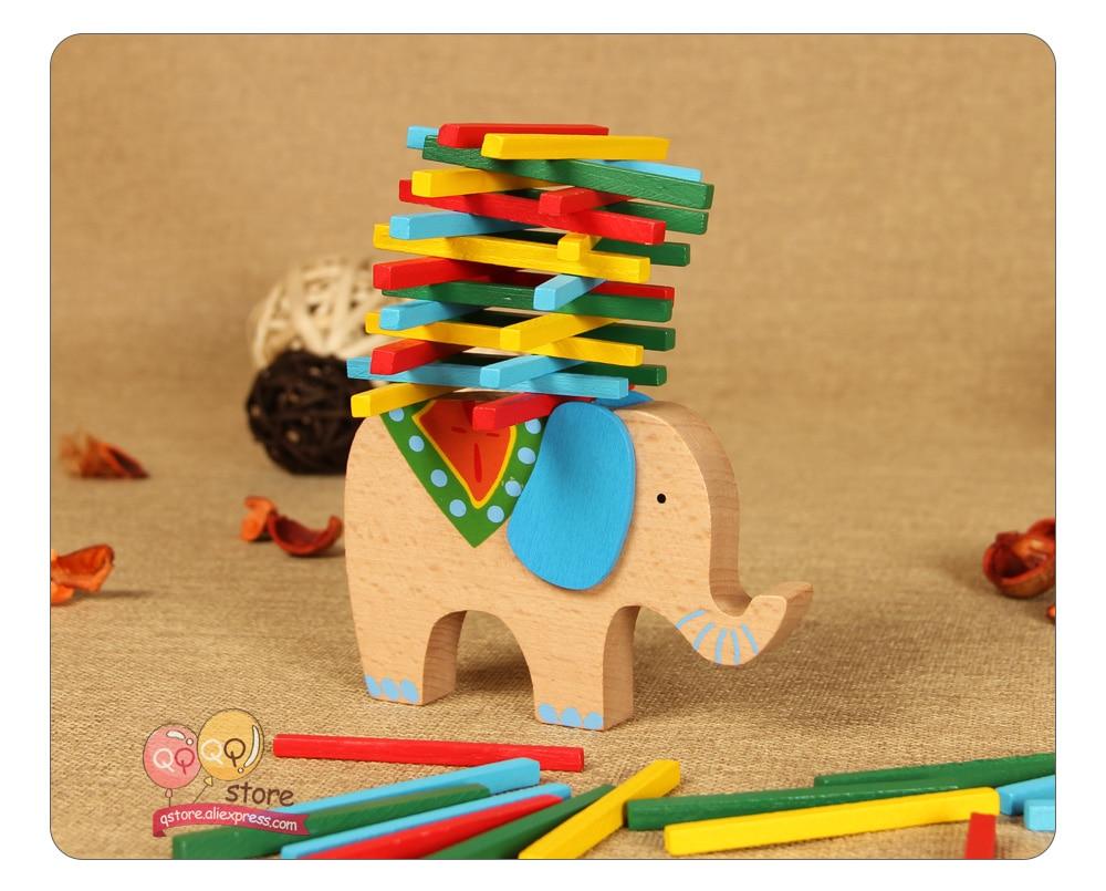 5Pcs Fuuny Elephant Wooden Dolls Matryoshka  Russian Stacking Nesting Toys F