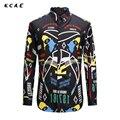 KCAE 2017 New Casual Men Shirt Long Sleeve Mens Dress Shirts Slim Fit Printing camisas Plus Size M-XXXL