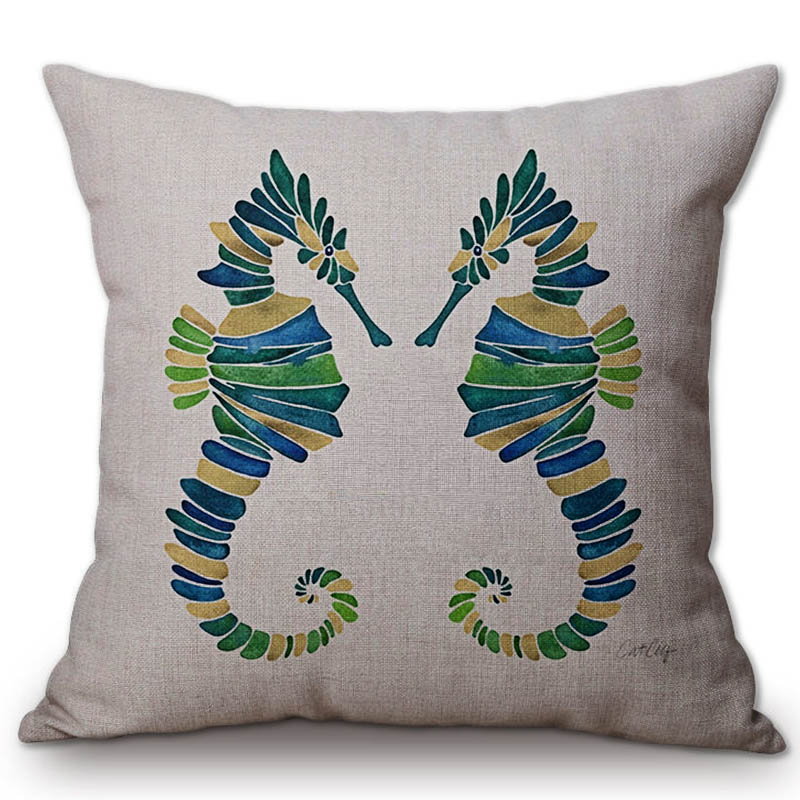 Fantastic Us 5 72 12 Off Colorful Sea Horse Sofa Throw Pillow Cushion Covers Cotton Linen Outdoor Bench Chair Sitting Pillow Case Home Decor Medium Size In Evergreenethics Interior Chair Design Evergreenethicsorg