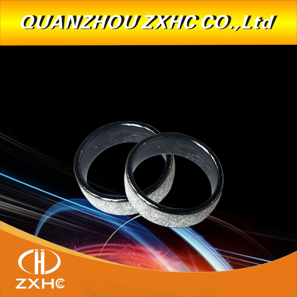 125KHZ/13.56MHZ RFID Bright Silver Ceramics Smart Finger Ring Wear For Men Or Women