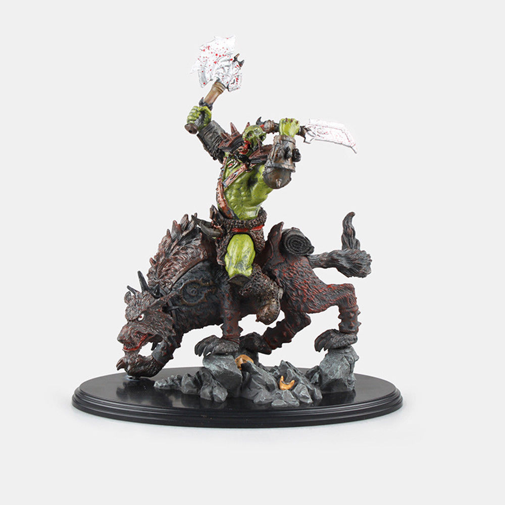 Wow Raider Riding Wolf ORC Action Figure Statue Toy Anime Figure Collectible Model Toy Doll Robot Figure Kit Block
