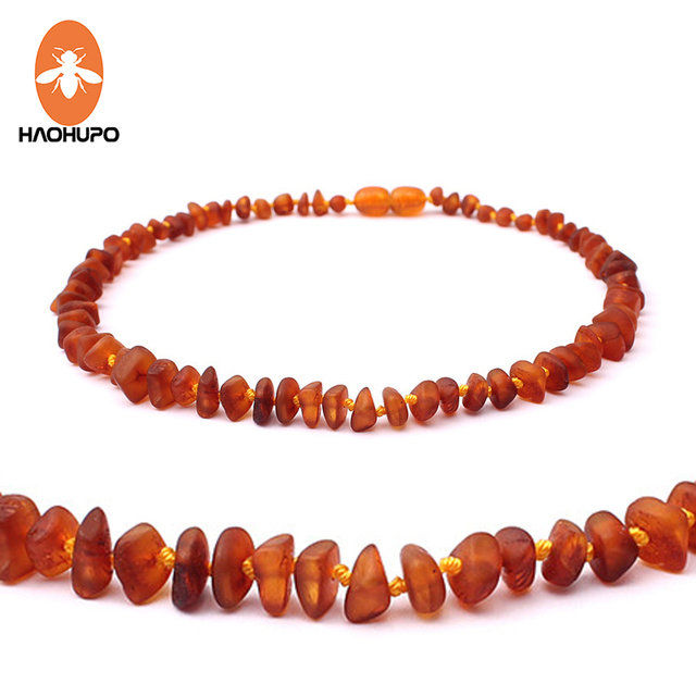 HAOHUPO Unpolished Amber Teething Necklace for Baby Jewelry Certificated Real Ba